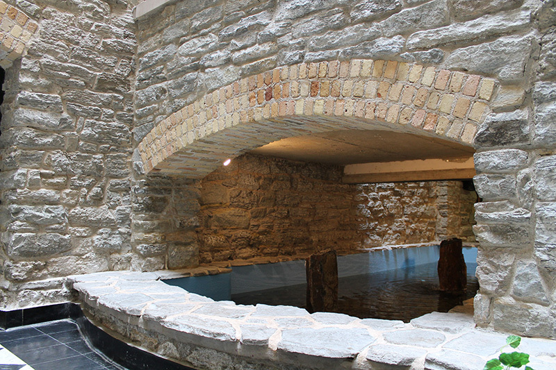 Brick arch and Platteville limestone foundation