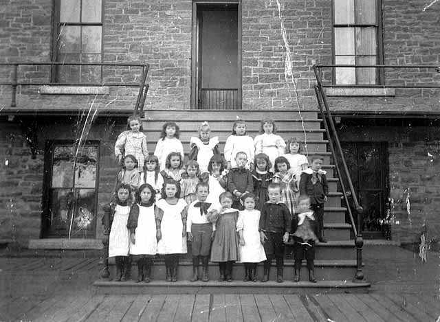 Young students on steps